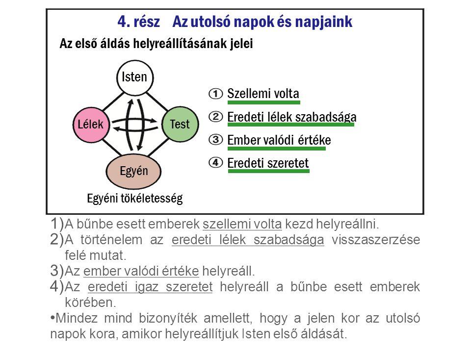 1) A bűnbe esett emberek szellemi volta kezd helyreállni. 2) A történelem az eredeti lélek szabadsága visszaszerzése felé mutat. 3) Az ember valódi ér