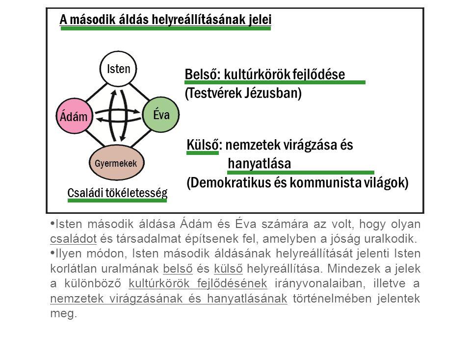 A második áldás helyreállításának jelei Isten második áldása Ádám és Éva számára az volt, hogy olyan családot és társadalmat építsenek fel, amelyben a jóság uralkodik.