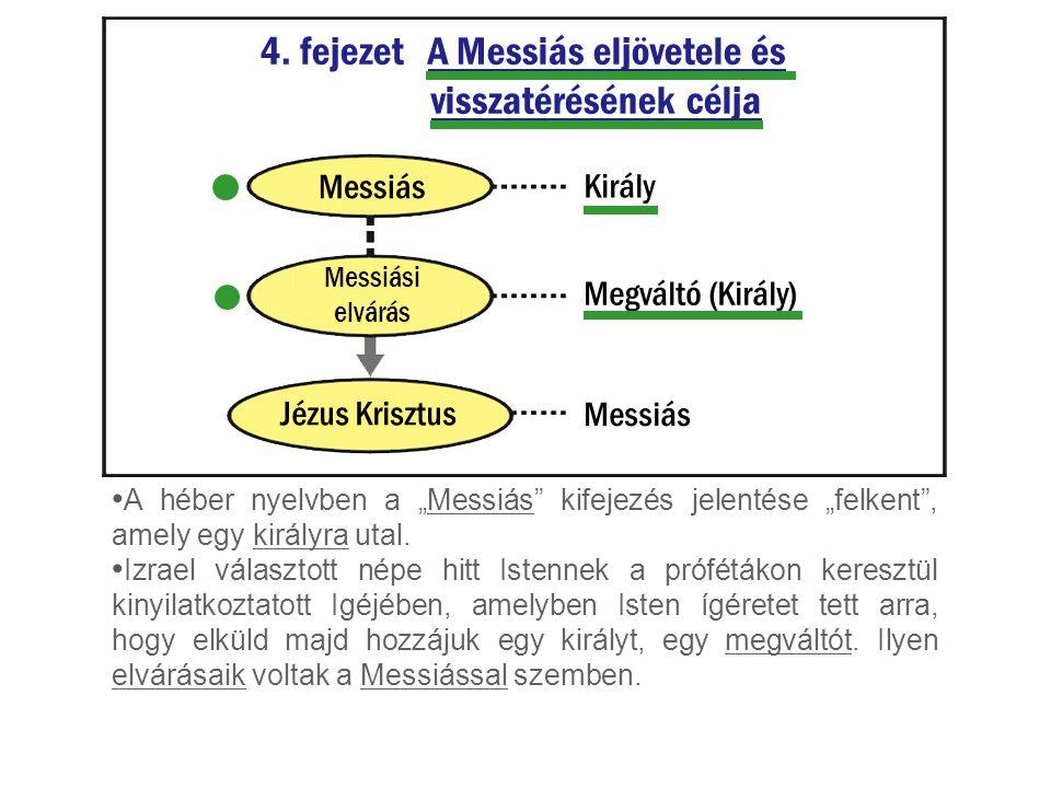 """4. fejezet A Messiás eljövetele és visszatérésének célja A héber nyelvben a """"Messiás"""" kifejezés jelentése """"felkent"""", amely egy királyra utal. Izrael v"""