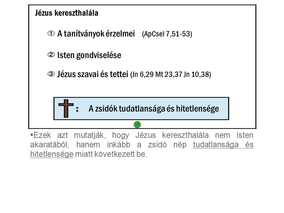 Ezek azt mutatják, hogy Jézus kereszthalála nem Isten akaratából, hanem inkább a zsidó nép tudatlansága és hitetlensége miatt következett be. Jézus ke