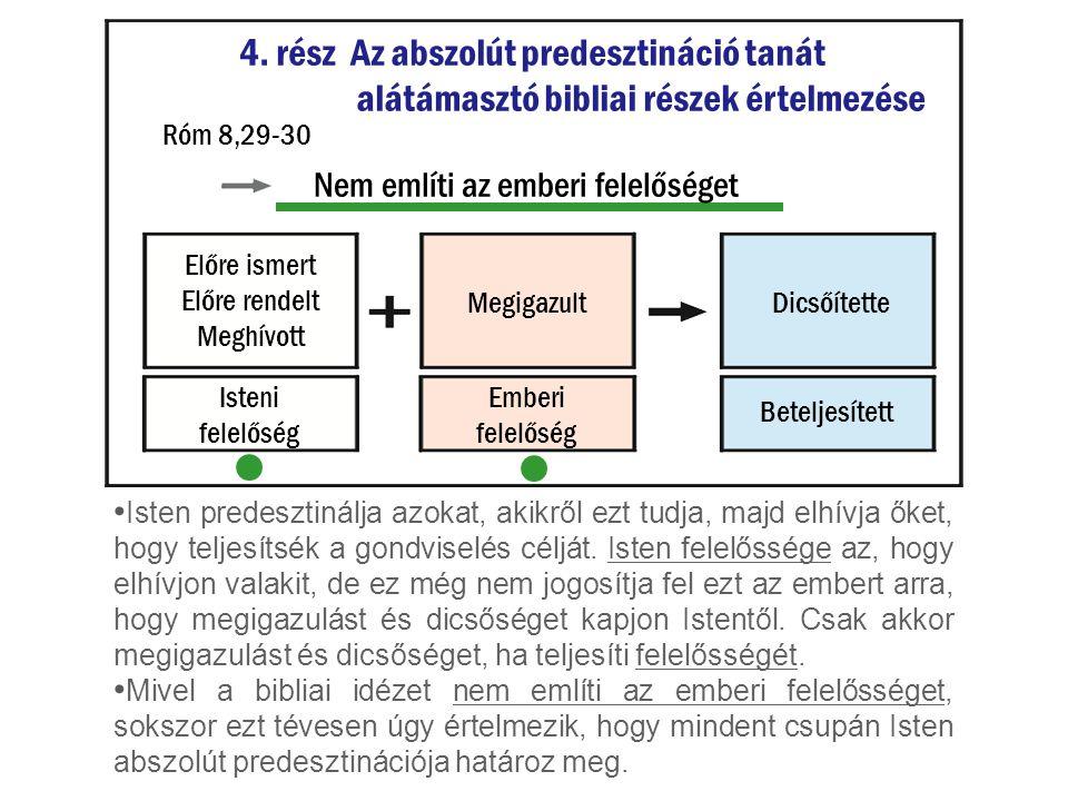 4. rész Az abszolút predesztináció tanát alátámasztó bibliai részek értelmezése Isten predesztinálja azokat, akikről ezt tudja, majd elhívja őket, hog