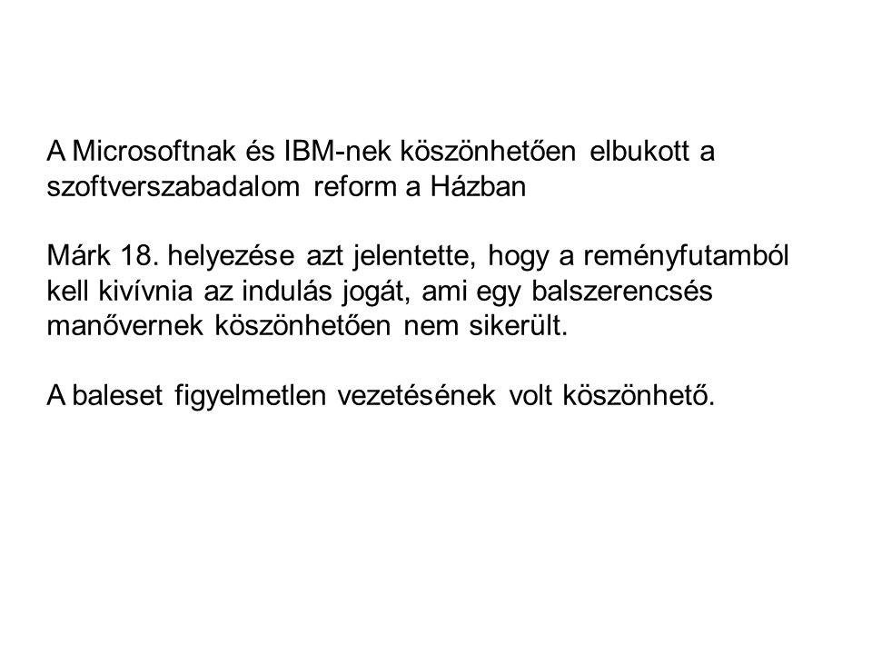 A Microsoftnak és IBM-nek köszönhetően elbukott a szoftverszabadalom reform a Házban Márk 18.