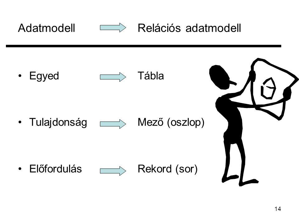 14 AdatmodellRelációs adatmodell EgyedTábla TulajdonságMező (oszlop) ElőfordulásRekord (sor)