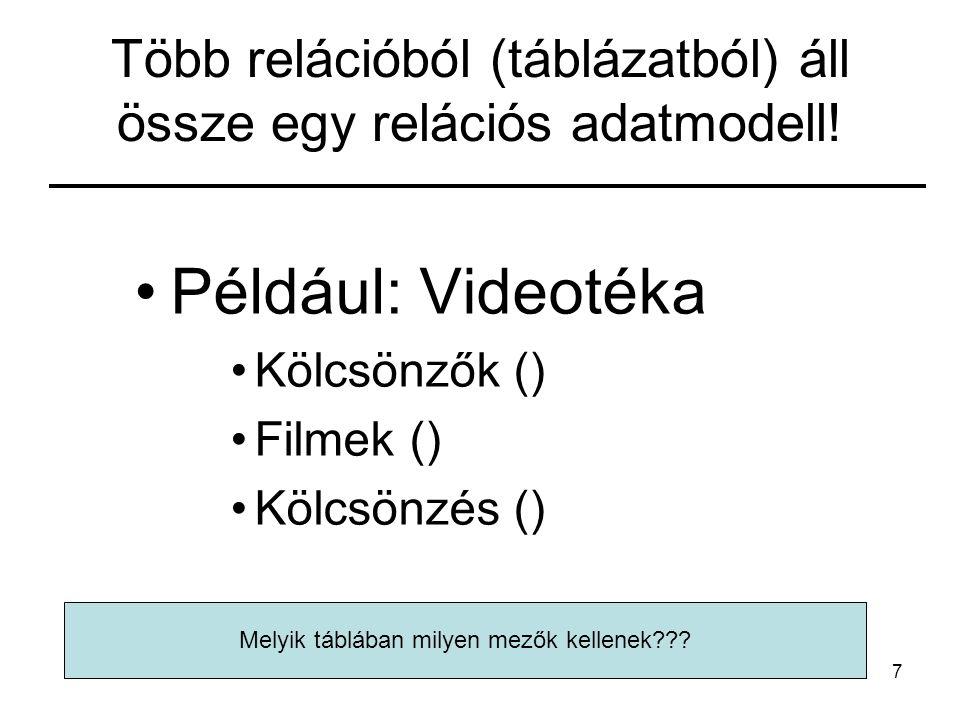 7 Több relációból (táblázatból) áll össze egy relációs adatmodell.