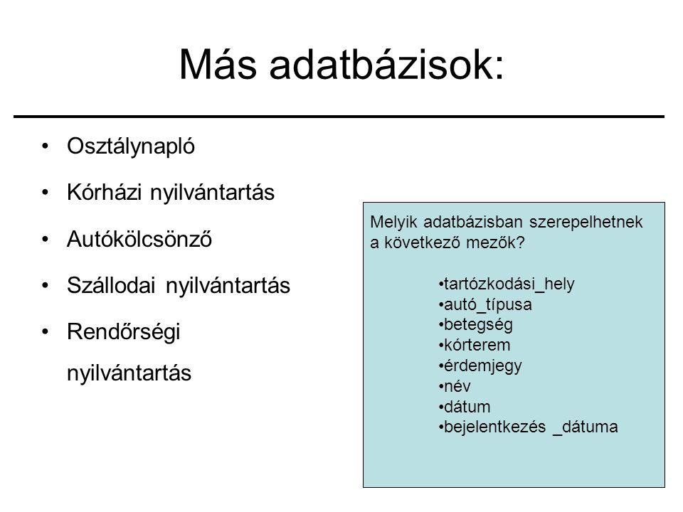 9 Más adatbázisok: Osztálynapló Kórházi nyilvántartás Autókölcsönző Szállodai nyilvántartás Rendőrségi nyilvántartás Melyik adatbázisban szerepelhetnek a következő mezők.
