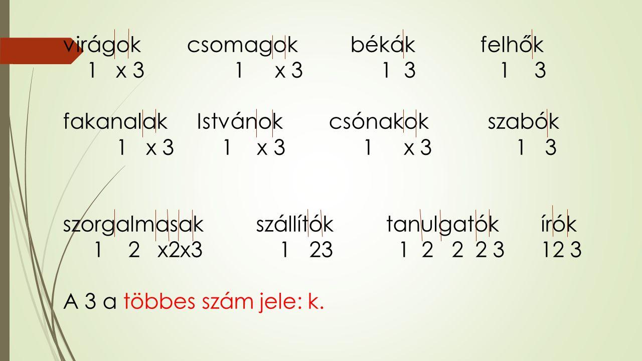 virágok csomagok békák felhők 1 x 3 1 x 3 1 3 1 3 fakanalak Istvánok csónakok szabók 1 x 3 1 x 3 1 x 3 1 3 szorgalmasak szállítók tanulgatók írók 1 2 x2x3 1 23 1 2 2 2 3 12 3 A 3 a többes szám jele: k.