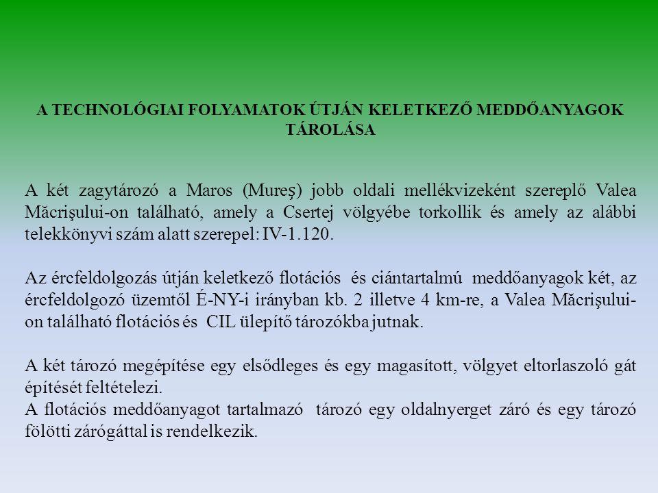 A TECHNOLÓGIAI FOLYAMATOK ÚTJÁN KELETKEZŐ MEDDŐANYAGOK TÁROLÁSA A két zagytározó a Maros (Mure) jobb oldali mellékvizeként szereplő Valea Măcrişului-o