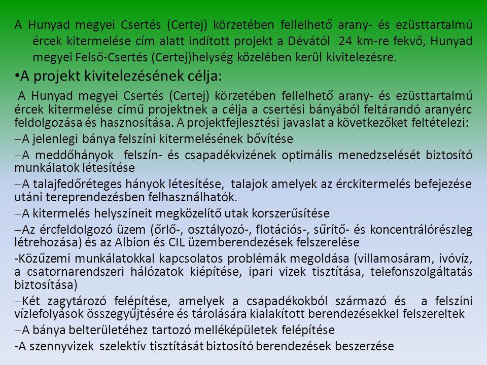 A Hunyad megyei Csertés (Certej) körzetében fellelhető arany- és ezüsttartalmú ércek kitermelése cím alatt indított projekt a Dévától 24 km-re fekvő, Hunyad megyei Felső-Csertés (Certej)helység közelében kerül kivitelezésre.