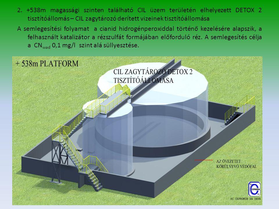2. +538m magassági szinten található CIL üzem területén elhelyezett DETOX 2 tisztítóállomás – CIL zagytározó derített vizeinek tisztítóállomása A seml