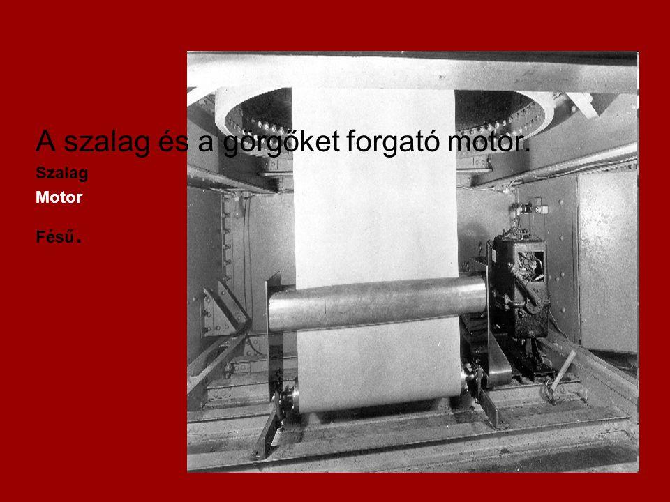A szalag és a görgőket forgató motor. Szalag Motor Fésű.