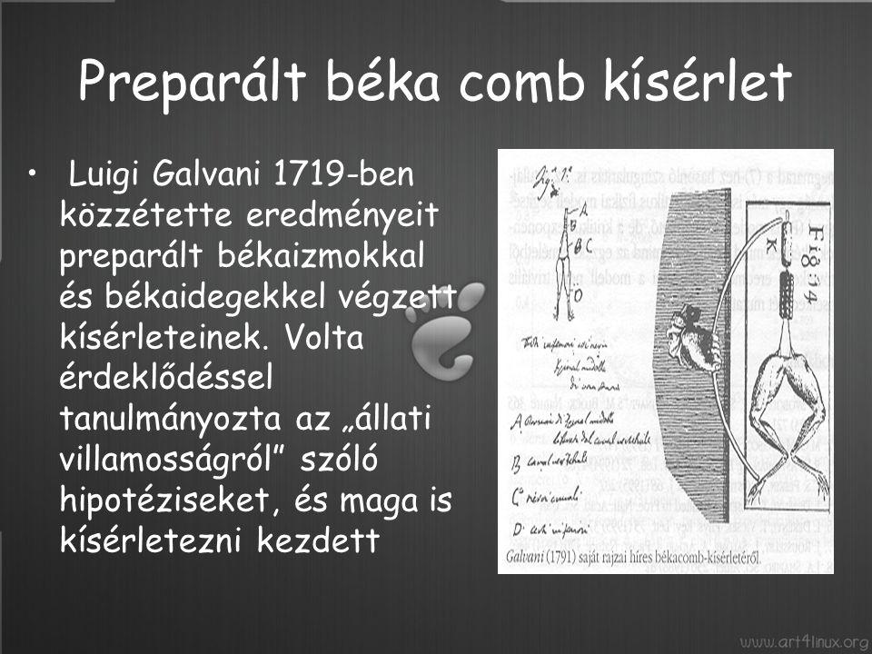 Első kísérletében - 1786 szeptember 20-án észrevette, hogy néhány béka lába, amelyeket sorba felfüggesztett egy korlátra, összehúzódott, amikor a szél a vasállványhoz érintette őket.