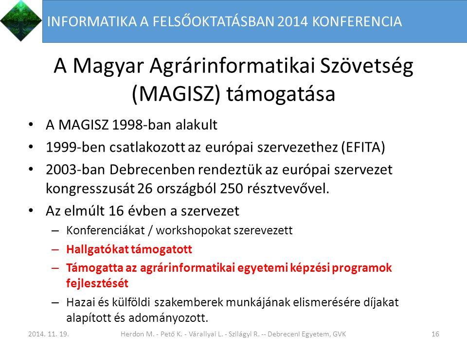 A Magyar Agrárinformatikai Szövetség (MAGISZ) támogatása A MAGISZ 1998-ban alakult 1999-ben csatlakozott az európai szervezethez (EFITA) 2003-ban Debrecenben rendeztük az európai szervezet kongresszusát 26 országból 250 résztvevővel.