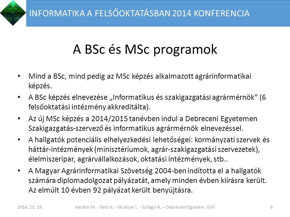 A BSc és MSc programok Mind a BSc, mind pedig az MSc képzés alkalmazott agrárinformatikai képzés.