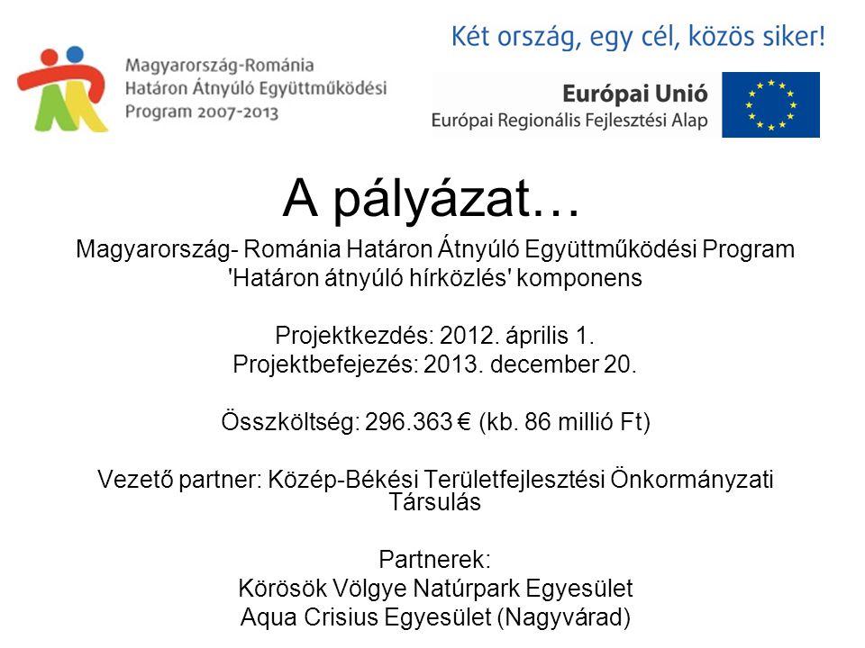 A pályázat… Magyarország- Románia Határon Átnyúló Együttműködési Program Határon átnyúló hírközlés komponens Projektkezdés: 2012.