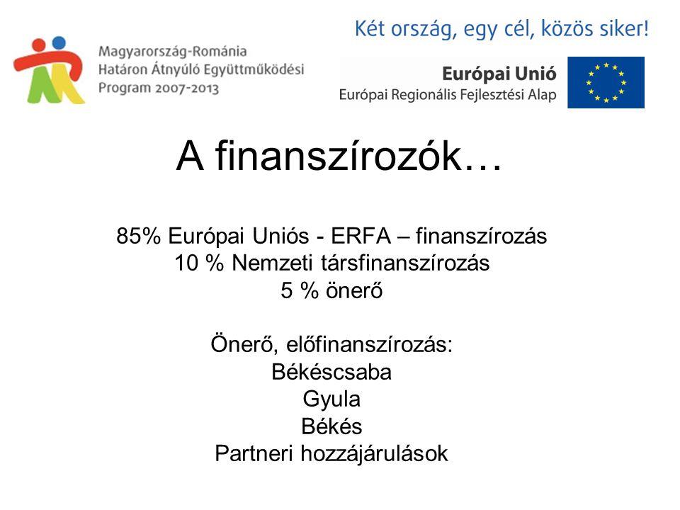 A finanszírozók… 85% Európai Uniós - ERFA – finanszírozás 10 % Nemzeti társfinanszírozás 5 % önerő Önerő, előfinanszírozás: Békéscsaba Gyula Békés Partneri hozzájárulások