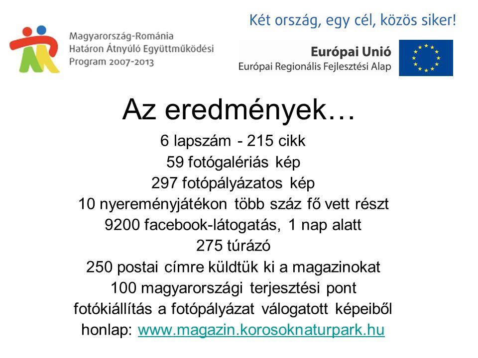 Az eredmények… 6 lapszám - 215 cikk 59 fotógalériás kép 297 fotópályázatos kép 10 nyereményjátékon több száz fő vett részt 9200 facebook-látogatás, 1 nap alatt 275 túrázó 250 postai címre küldtük ki a magazinokat 100 magyarországi terjesztési pont fotókiállítás a fotópályázat válogatott képeiből honlap: www.magazin.korosoknaturpark.huwww.magazin.korosoknaturpark.hu