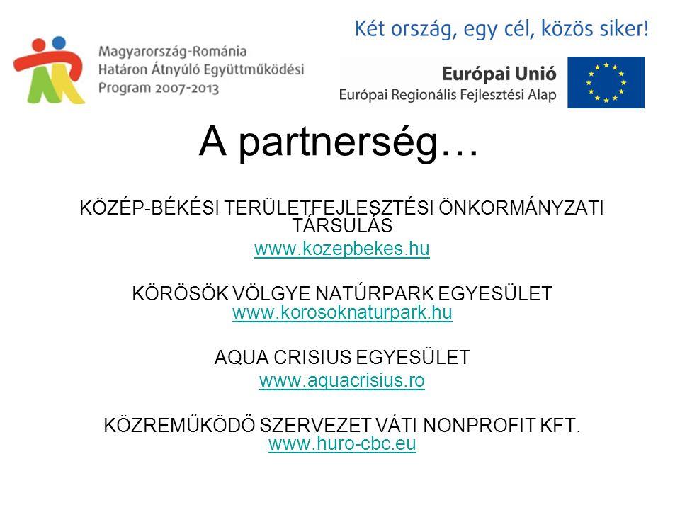 A partnerség… KÖZÉP-BÉKÉSI TERÜLETFEJLESZTÉSI ÖNKORMÁNYZATI TÁRSULÁS www.kozepbekes.hu KÖRÖSÖK VÖLGYE NATÚRPARK EGYESÜLET www.korosoknaturpark.hu www.korosoknaturpark.hu AQUA CRISIUS EGYESÜLET www.aquacrisius.ro KÖZREMŰKÖDŐ SZERVEZET VÁTI NONPROFIT KFT.