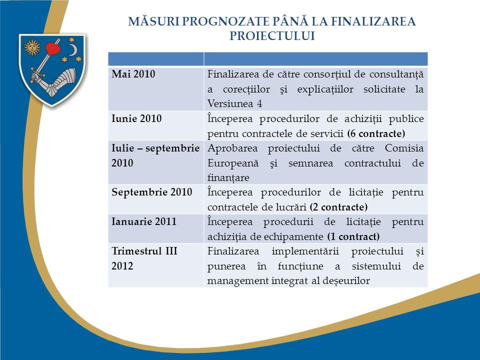 MĂSURI PROGNOZATE PÂNĂ LA FINALIZAREA PROIECTULUI Mai 2010Finalizarea de către consorţiul de consultanţă a corecţiilor şi explicaţiilor solicitate la Versiunea 4 Iunie 2010 Începerea procedurilor de achiziţii publice pentru contractele de servicii (6 contracte) Iulie – septembrie 2010 Aprobarea proiectului de către Comisia Europeană şi semnarea contractului de finanţare Septembrie 2010 Începerea procedurilor de licitaţie pentru contractele de lucrări (2 contracte) Ianuarie 2011 Începerea procedurii de licitație pentru achiziția de echipamente (1 contract) Trimestrul III 2012 Finalizarea implementării proiectului și punerea în funcțiune a sistemului de management integrat al deșeurilor