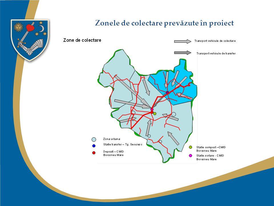 Zonele de colectare prevăzute în proiect
