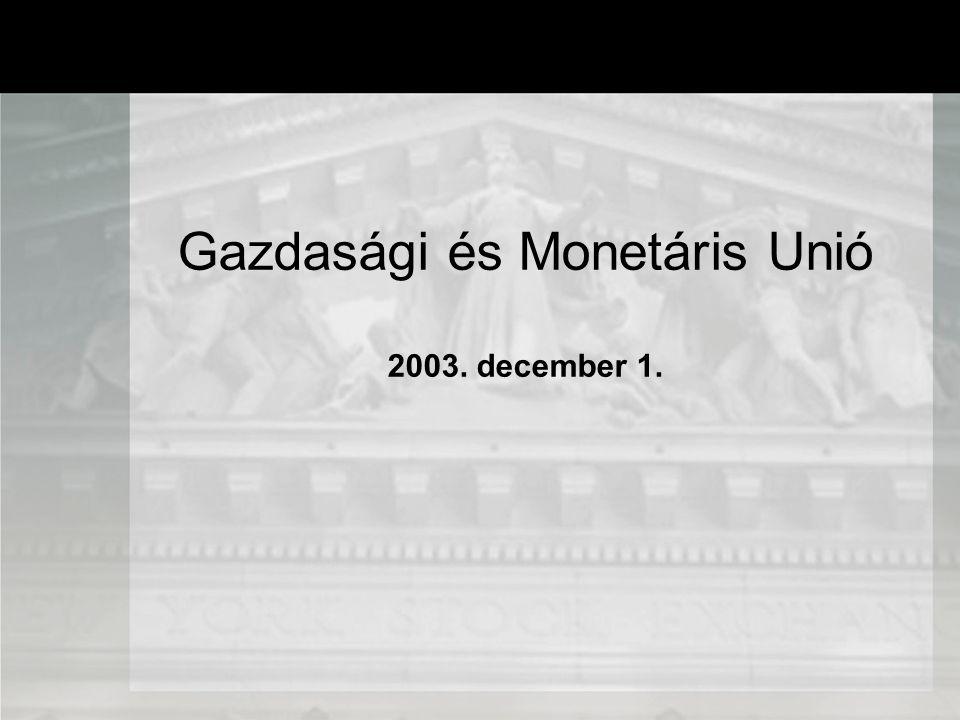 A monetáris integráció hasznai Az árak átláthatóságának növekedése Az átváltási költségek megszűnése (GDP 0,3-0,4 %) Az árfolyam ingadozások megszűnése (alacsonyabb reálkamatok) Pénzügyi piacok hatékonyságának növekedése Politikai ok: az egységes piac csak közös monetáris politika mellett valósulhat meg Külkereskedelem aránya a GDP-hez képest Költség -haszon hasznok költségek T