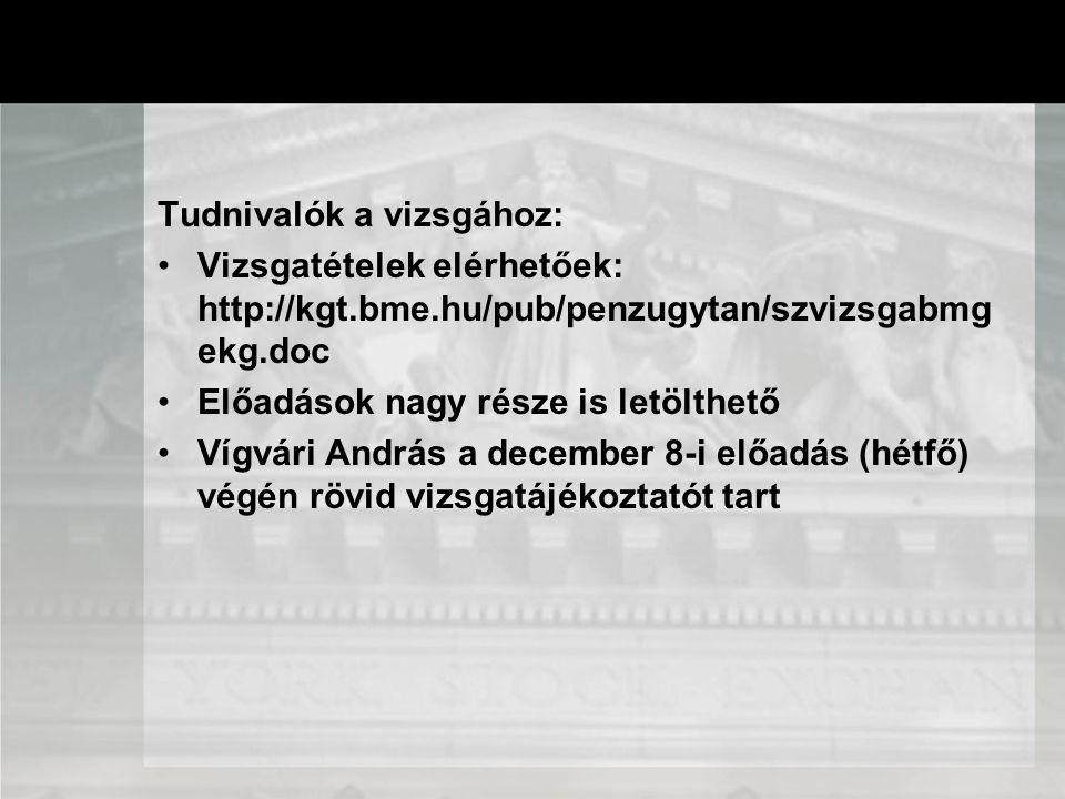 Tudnivalók a vizsgához: Vizsgatételek elérhetőek: http://kgt.bme.hu/pub/penzugytan/szvizsgabmg ekg.doc Előadások nagy része is letölthető Vígvári Andr