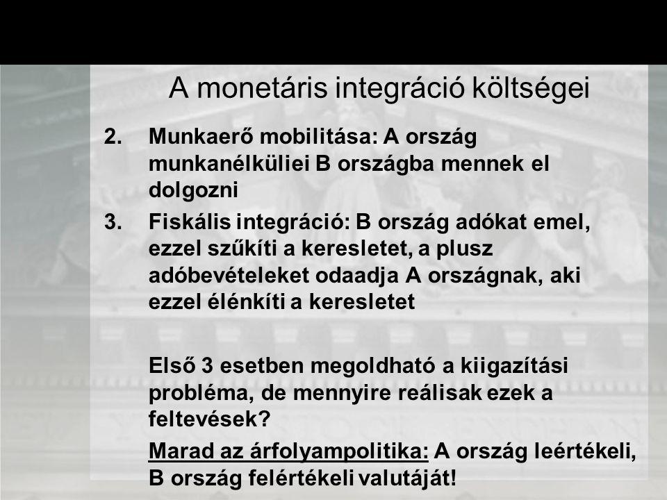 2.Munkaerő mobilitása: A ország munkanélküliei B országba mennek el dolgozni 3.Fiskális integráció: B ország adókat emel, ezzel szűkíti a keresletet,