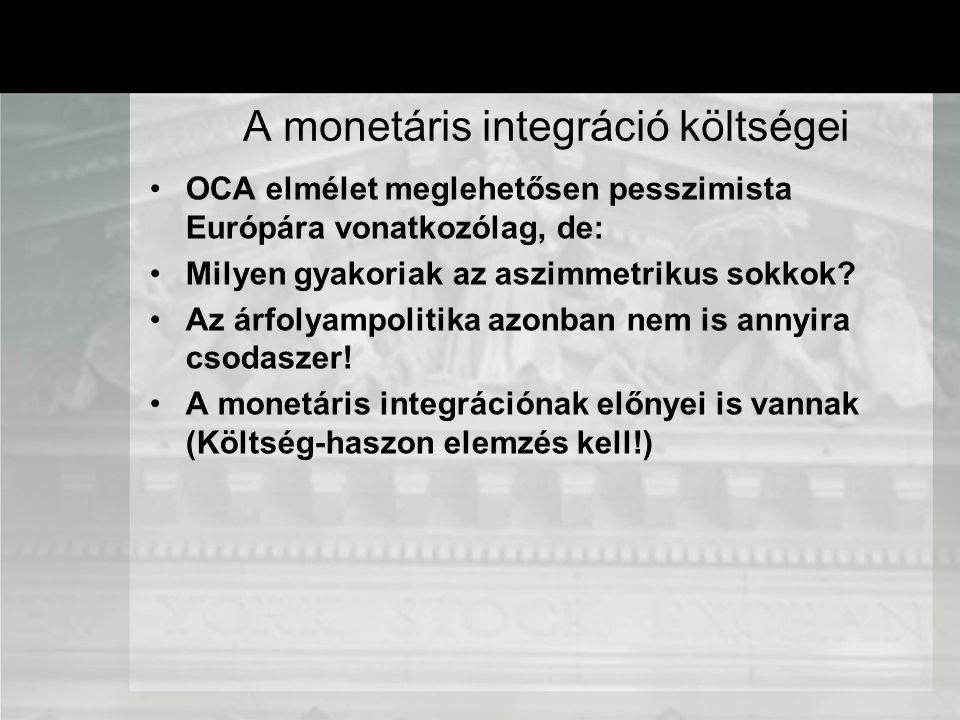 OCA elmélet meglehetősen pesszimista Európára vonatkozólag, de: Milyen gyakoriak az aszimmetrikus sokkok? Az árfolyampolitika azonban nem is annyira c