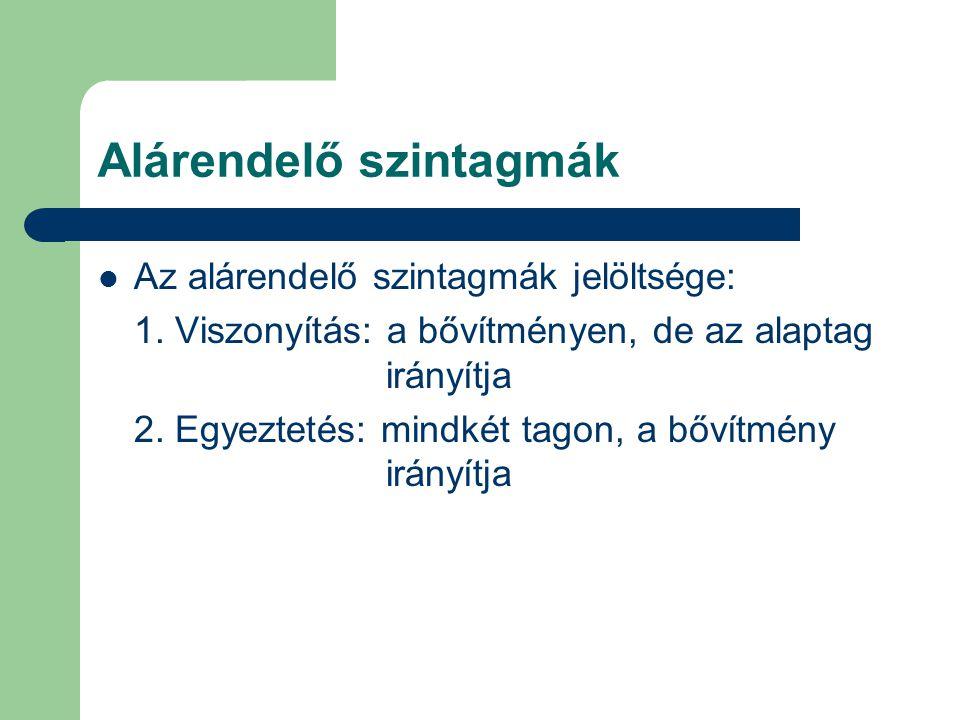 Alárendelő szintagmák Az alárendelő szintagmák jelöltsége: 1. Viszonyítás: a bővítményen, de az alaptag irányítja 2. Egyeztetés: mindkét tagon, a bőví