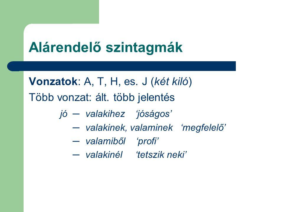 Alárendelő szintagmák Vonzatok: A, T, H, es. J (két kiló) Több vonzat: ált. több jelentés jó ─valakihez 'jóságos' ─valakinek, valaminek 'megfelelő' ─v
