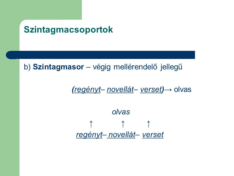 Szintagmacsoportok b) Szintagmasor – végig mellérendelő jellegű (regényt– novellát– verset)→ olvas olvas ↑ ↑ ↑ regényt– novellát– verset