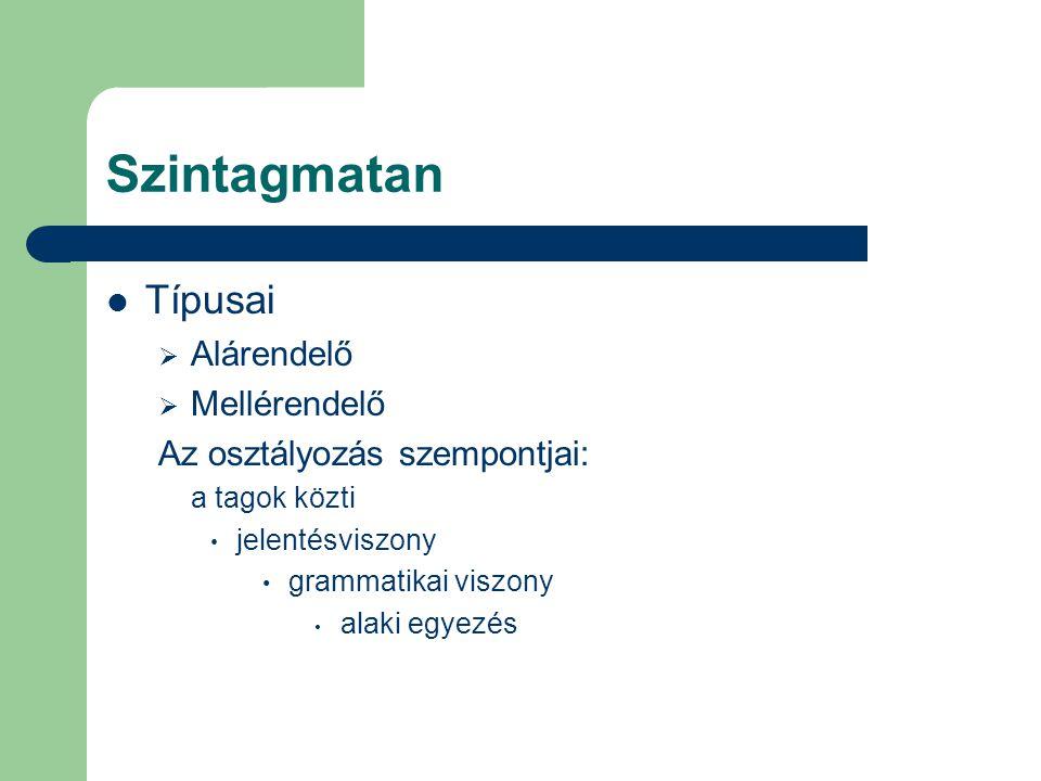 Szintagmatan Típusai  Alárendelő  Mellérendelő Az osztályozás szempontjai: a tagok közti jelentésviszony grammatikai viszony alaki egyezés