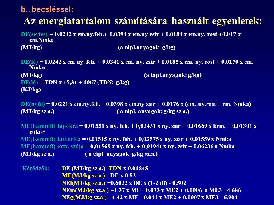 b., becsléssel: Az energiatartalom számítására használt egyenletek: DE(sertés) = 0.0242 x em.ny.feh.+ 0.0394 x em.ny zsír + 0.0184 x em.ny.