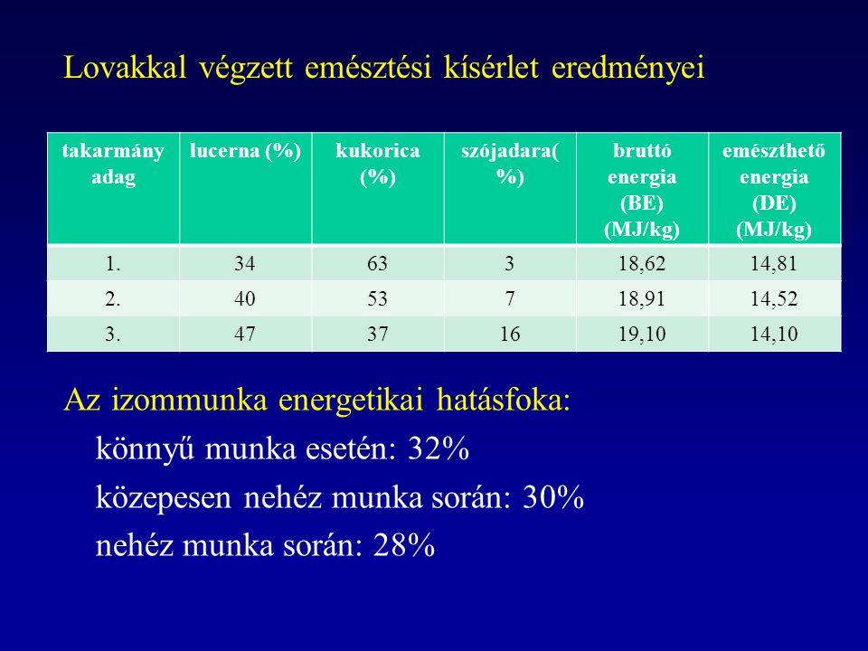 Lovakkal végzett emésztési kísérlet eredményei takarmány adag lucerna (%)kukorica (%) szójadara( %) bruttó energia (BE) (MJ/kg) emészthető energia (DE) (MJ/kg) 1.3463318,6214,81 2.4053718,9114,52 3.47371619,1014,10 Az izommunka energetikai hatásfoka: könnyű munka esetén: 32% közepesen nehéz munka során: 30% nehéz munka során: 28%