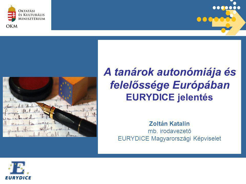 A tanárok autonómiája és felelőssége Európában EURYDICE jelentés Zoltán Katalin mb.