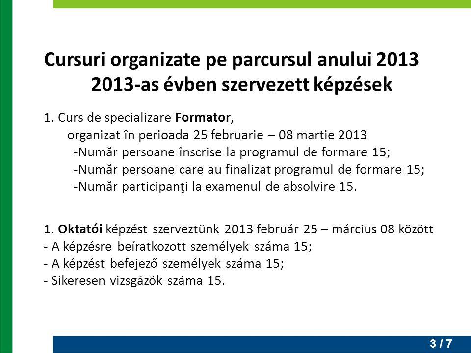 3 / 7 Cursuri organizate pe parcursul anului 2013 2013-as évben szervezett képzések 1. Curs de specializare Formator, organizat în perioada 25 februar