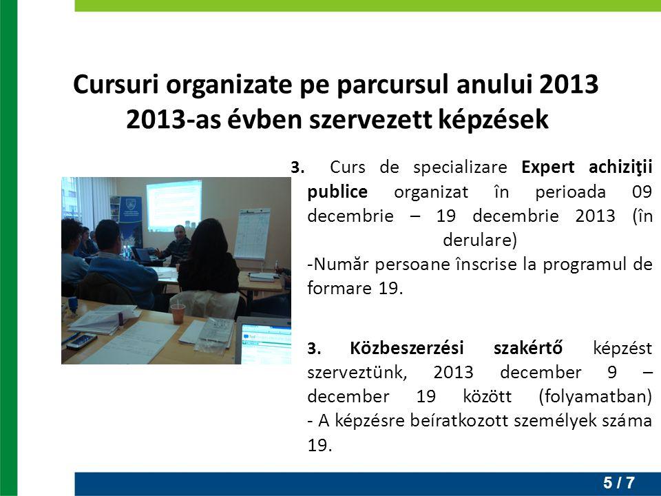5 / 7 3. Curs de specializare Expert achiziţii publice organizat în perioada 09 decembrie – 19 decembrie 2013 (în derulare) -Număr persoane înscrise l