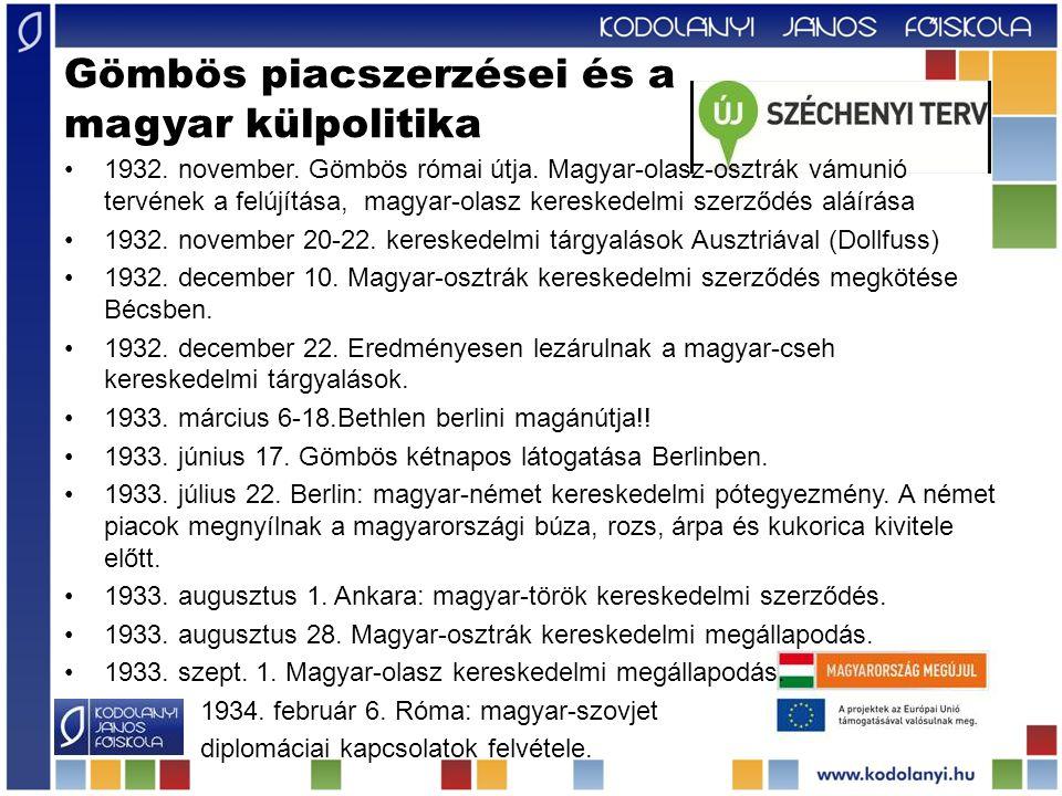 Gömbös piacszerzései és a magyar külpolitika 1932.