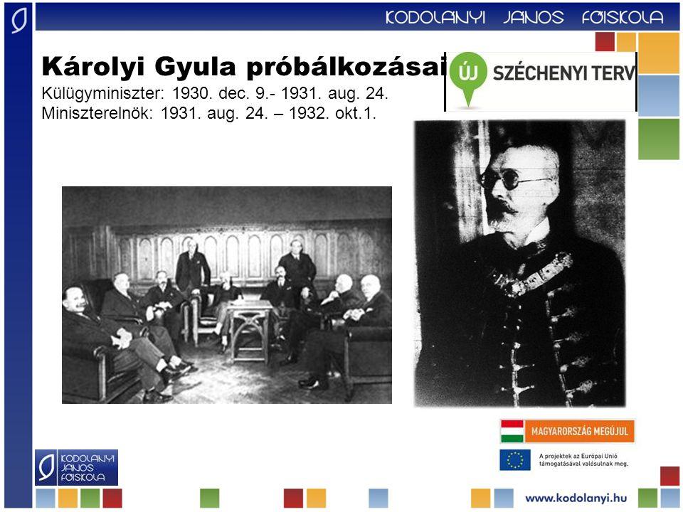 Károlyi Gyula próbálkozásai Külügyminiszter: 1930.