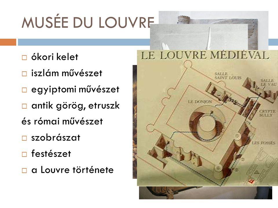 MUSÉE DU LOUVRE  ókori kelet  iszlám művészet  egyiptomi művészet  antik görög, etruszk és római művészet  szobrászat  festészet  a Louvre tört