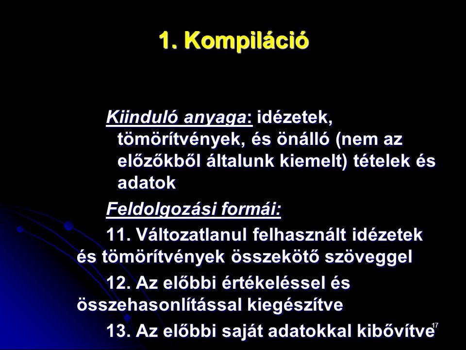 17 1. Kompiláció Kiinduló anyaga: idézetek, tömörítvények, és önálló (nem az előzőkből általunk kiemelt) tételek és adatok Feldolgozási formái: 11. Vá