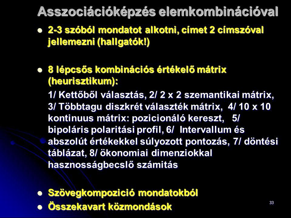 33 Asszociációképzés elemkombinációval 2-3 szóból mondatot alkotni, címet 2 címszóval jellemezni (hallgatók!) 2-3 szóból mondatot alkotni, címet 2 címszóval jellemezni (hallgatók!) 8 lépcsős kombinációs értékelő mátrix (heurisztikum): 8 lépcsős kombinációs értékelő mátrix (heurisztikum): 1/ Kettőből választás, 2/ 2 x 2 szemantikai mátrix, 3/ Többtagu diszkrét választék mátrix, 4/ 10 x 10 kontinuus mátrix: pozicionáló kereszt, 5/ bipoláris polaritási profil, 6/ Intervallum és abszolút értékekkel súlyozott pontozás, 7/ döntési táblázat, 8/ ökonomiai dimenziokkal hasznosságbecslő számitás Szövegkompozició mondatokból Szövegkompozició mondatokból Összekavart közmondások Összekavart közmondások