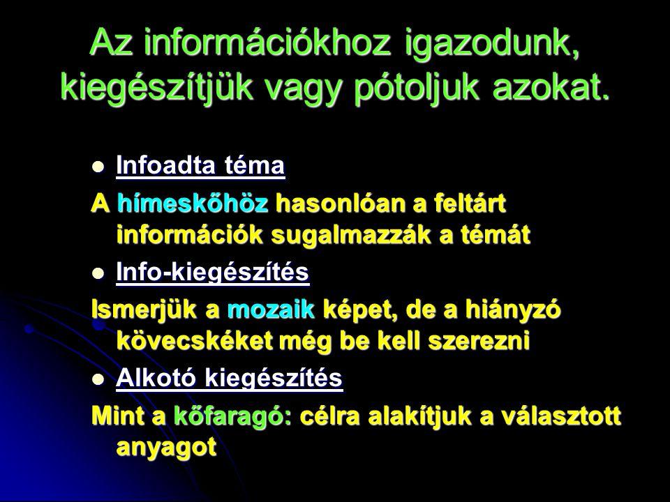Az információkhoz igazodunk, kiegészítjük vagy pótoljuk azokat.
