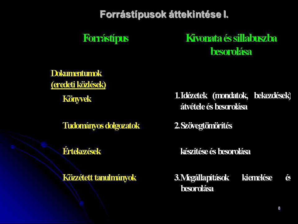 8 Forrástípusok áttekintése I.