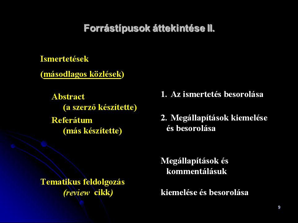 10 Forrástípusok áttekintése III.