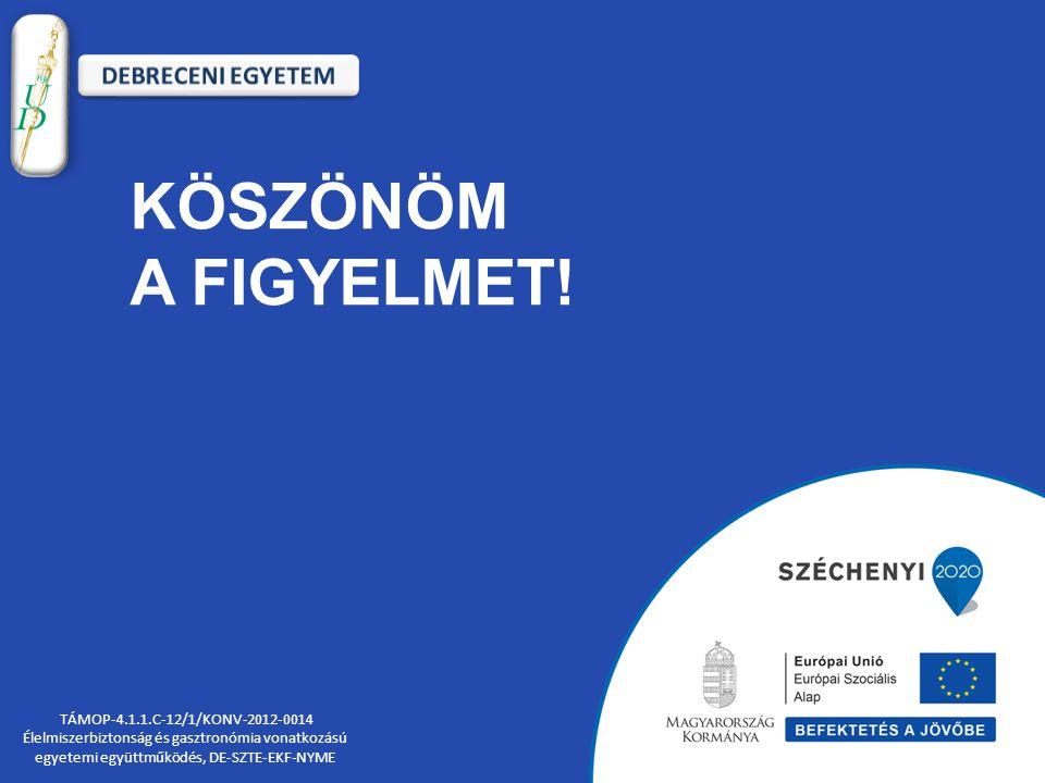 KÖSZÖNÖM A FIGYELMET! TÁMOP-4.1.1.C-12/1/KONV-2012-0014 Élelmiszerbiztonság és gasztronómia vonatkozású egyetemi együttműködés, DE-SZTE-EKF-NYME