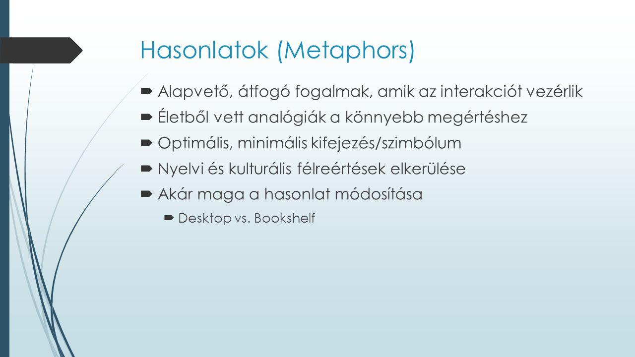 Hasonlatok (Metaphors)  Alapvető, átfogó fogalmak, amik az interakciót vezérlik  Életből vett analógiák a könnyebb megértéshez  Optimális, minimális kifejezés/szimbólum  Nyelvi és kulturális félreértések elkerülése  Akár maga a hasonlat módosítása  Desktop vs.
