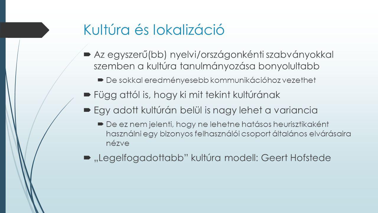 Kultúra és lokalizáció  Az egyszerű(bb) nyelvi/országonkénti szabványokkal szemben a kultúra tanulmányozása bonyolultabb  De sokkal eredményesebb ko