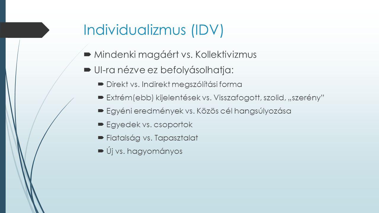 Individualizmus (IDV)  Mindenki magáért vs. Kollektivizmus  UI-ra nézve ez befolyásolhatja:  Direkt vs. Indirekt megszólítási forma  Extrém(ebb) k