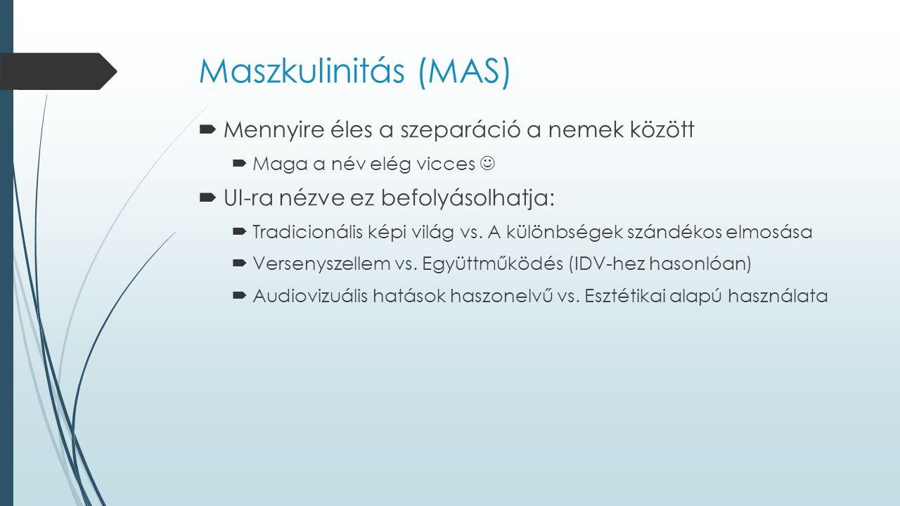 Maszkulinitás (MAS)  Mennyire éles a szeparáció a nemek között  Maga a név elég vicces  UI-ra nézve ez befolyásolhatja:  Tradicionális képi világ vs.