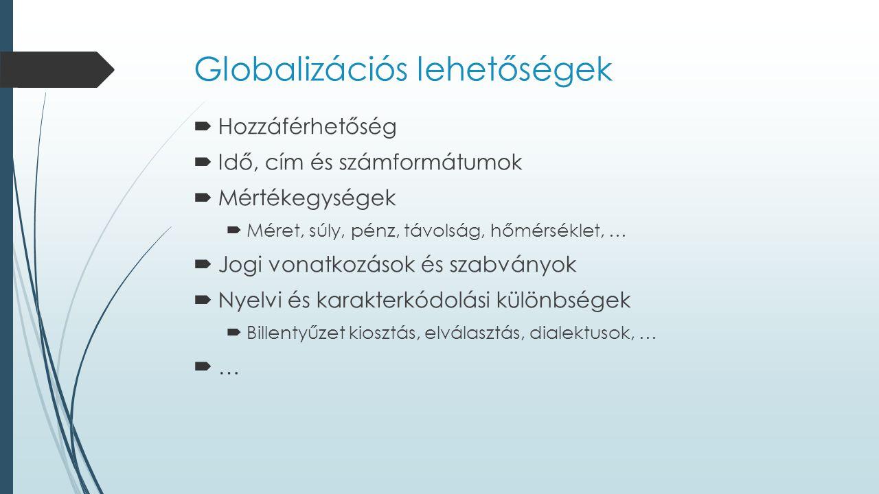 Globalizációs lehetőségek  Hozzáférhetőség  Idő, cím és számformátumok  Mértékegységek  Méret, súly, pénz, távolság, hőmérséklet, …  Jogi vonatkozások és szabványok  Nyelvi és karakterkódolási különbségek  Billentyűzet kiosztás, elválasztás, dialektusok, …  …